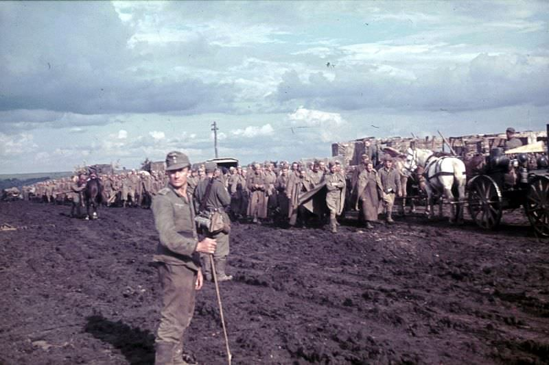 Колонна пленных красноармейцев в районе Белгорода