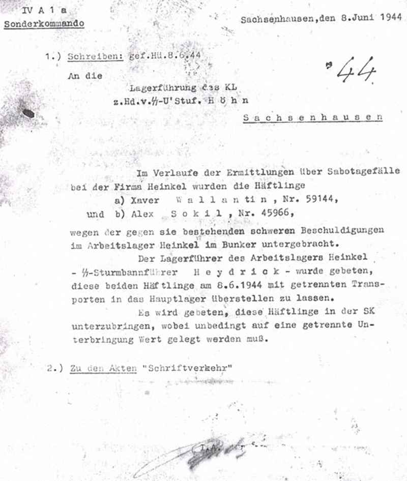 Письмо руководству концентрационного лагеря Заксенхаузен