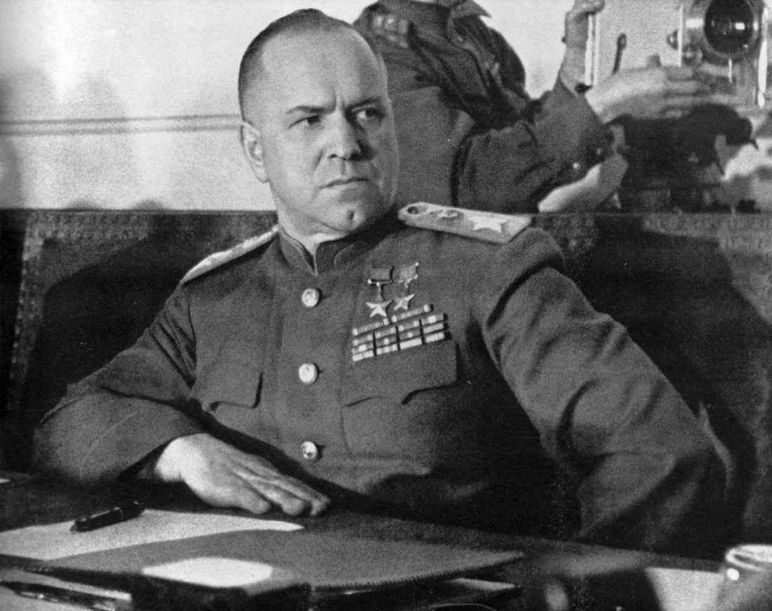 Г.К. Жукова во время подписания Акта о безоговорочной капитуляции Германии