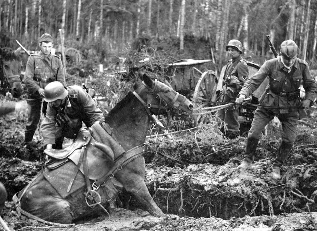 Немецкие солдаты застряли в болоте
