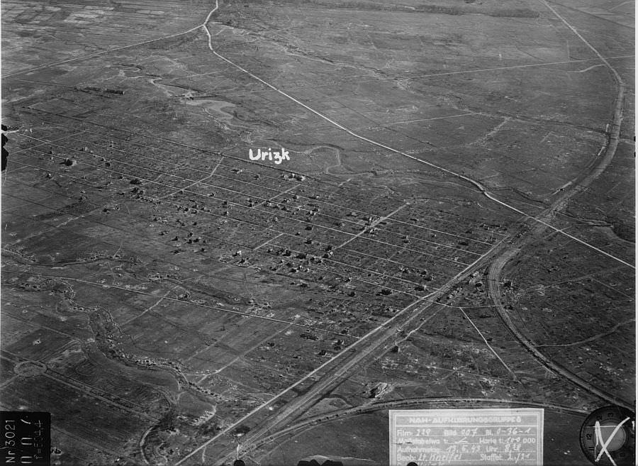 Снимок города Урицка с немецкого аэростата наблюдения
