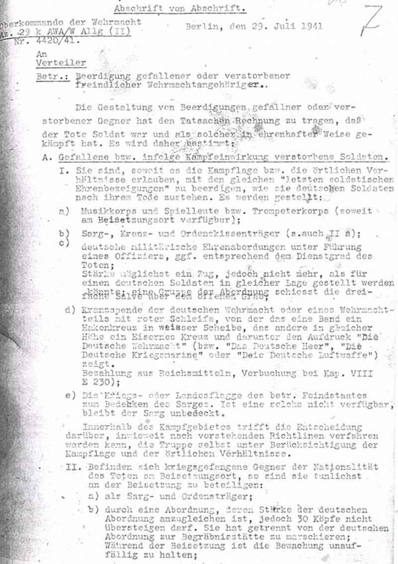 Верховное командование Вермахта о погребении военнослужащих противника