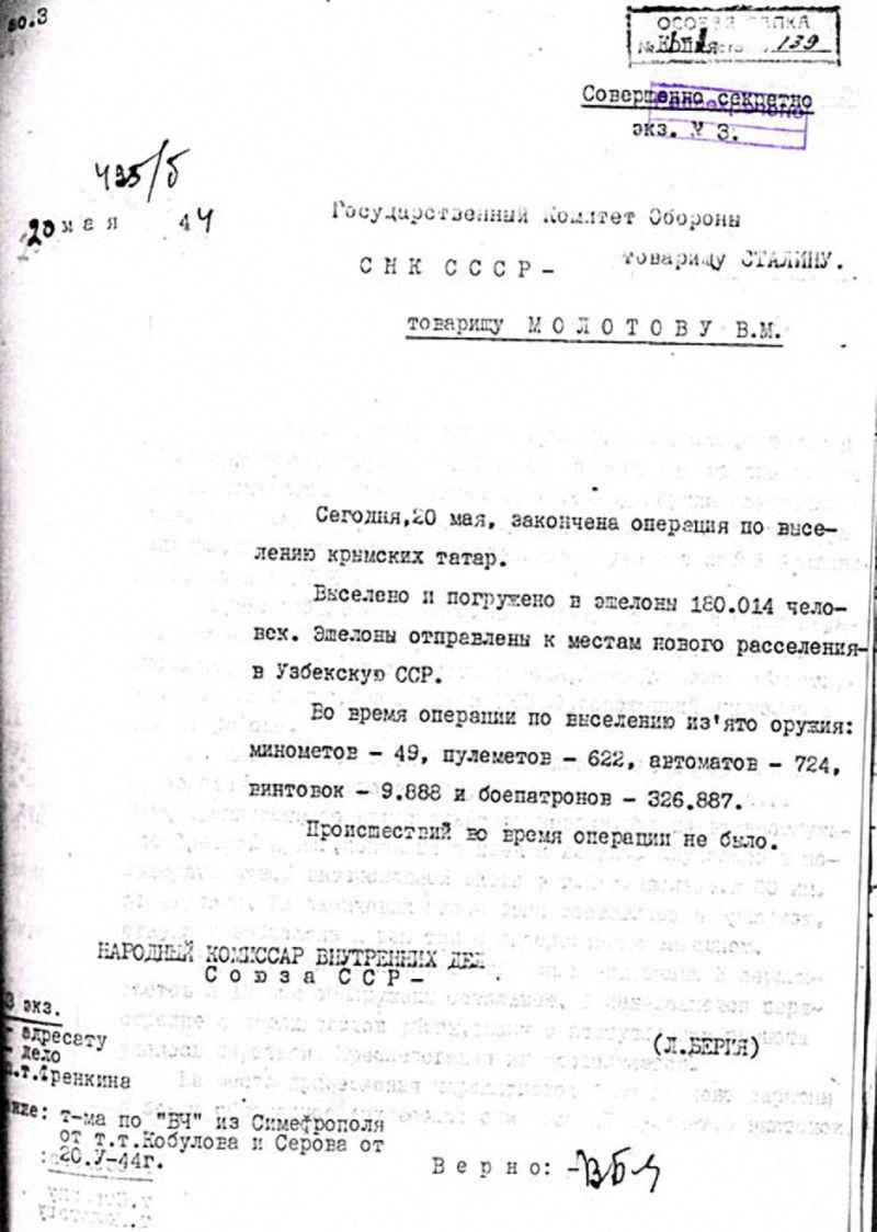 Отчет И.В.Сталину о завершении операции по выселению крымских татар