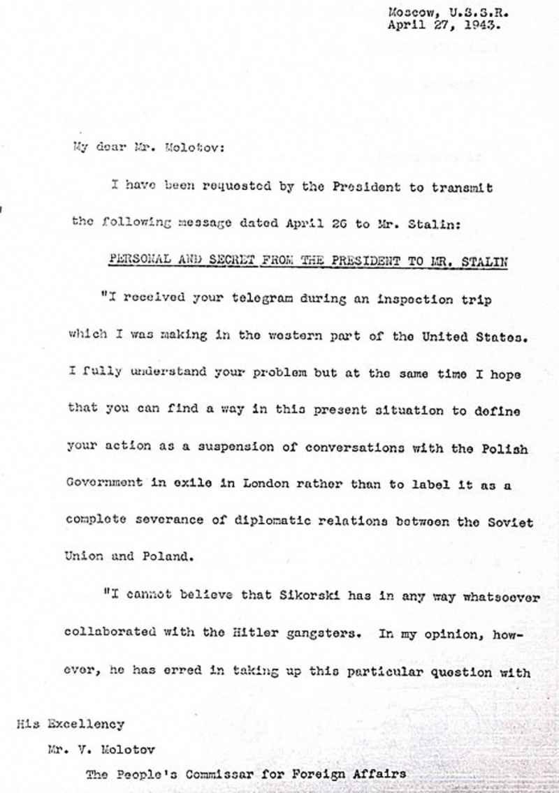 Лично и секретно от Президента Ф. Рузвельта г-ну Сталину